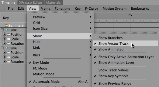 Show Vector Track Menu Item